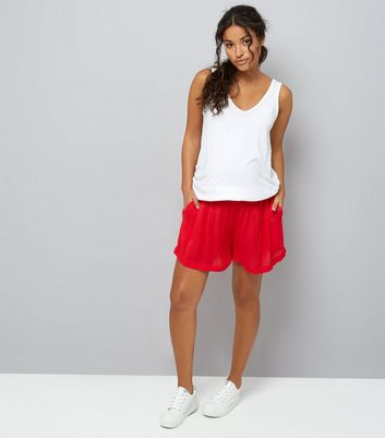 Maternity Red Shirred Waist Shorts