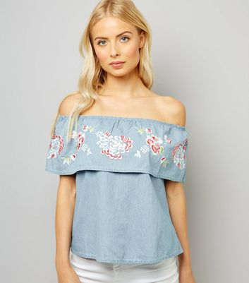 Pale Blue Floral Embroidered Bardot Neck Top