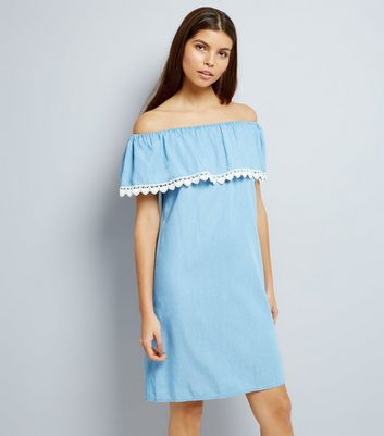 Blue Crochet Trim Bardot Dress