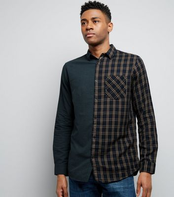 Dark Green Half Check Print Shirt