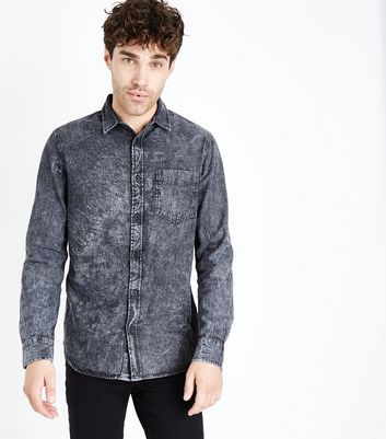 Black Acid Wash Denim Shirt