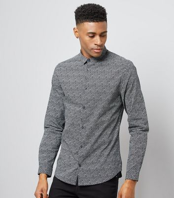 Dark Grey Geometric Print Shirt