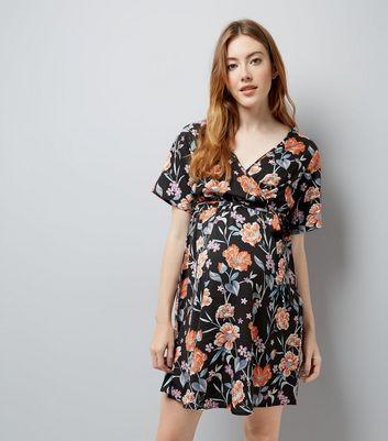 Maternity Black Floral Print Wrap Front Dress