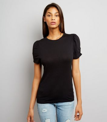 Tall Black Ruched Sleeve T-Shirt