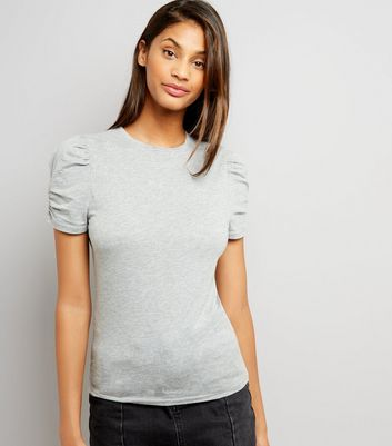 Tall Grey Ruched Sleeve T-Shirt