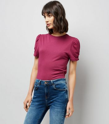 Tall Pink Ruched Sleeve T-Shirt