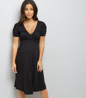 Maternity Black Puff Sleeve Wrap Front Dress