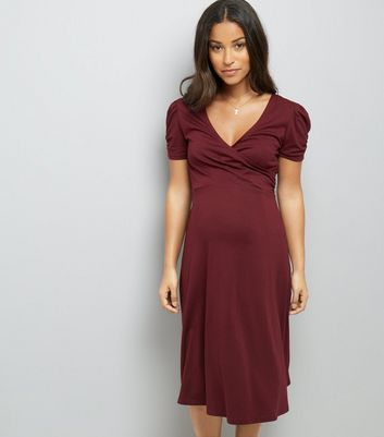 Maternity Burgundy Puff Sleeve Wrap Front Dress
