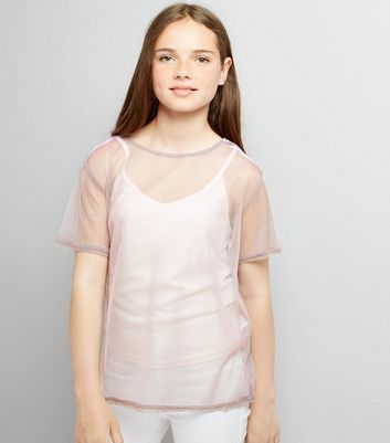 Teens Pink Mesh 2 in 1 Mesh Top