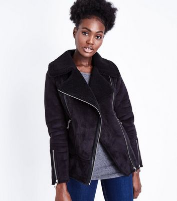 Black Faux Fur Shearling Biker Jacket