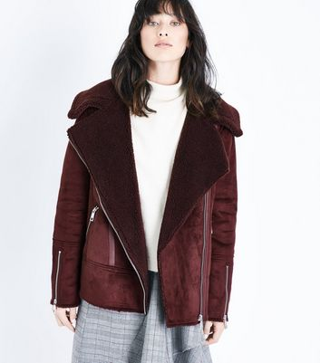 Burgundy Faux Shearling Biker Jacket