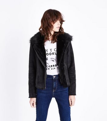 Black Suedette Faux Fur Collar Aviator Jacket