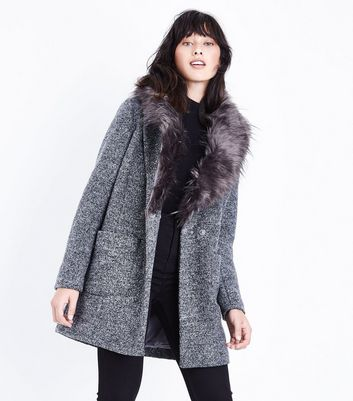 Black Speckled Faux Fur Collar Coat