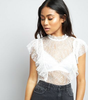 Petite Cream Sheer Lace Ruffle Trim Top
