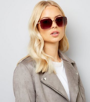 Rose Gold and Burgundy Oversized Square Sunglasses