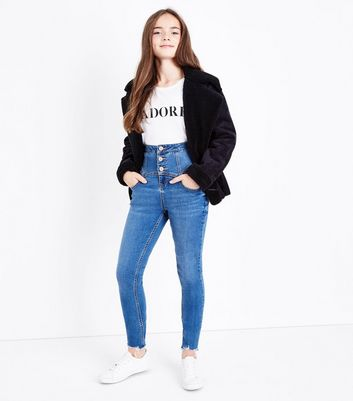 Teens Blue Super High Waist Button Front Skinny Jeans