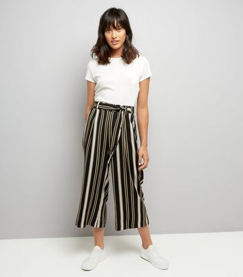 Yellow Stripe Tie Waist Cropped Trousers