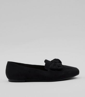 Teens Black Suedette Bow Front Loafers