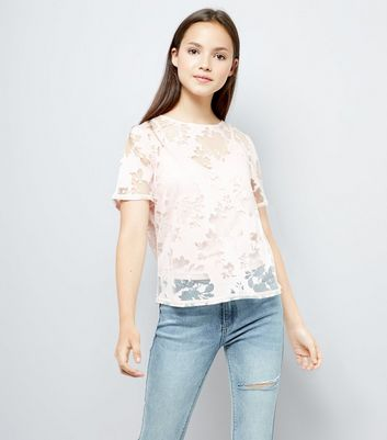 Teens Pink Floral Burnout T-Shirt