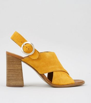 Yellow Premium Leather Block Heeled Sandals