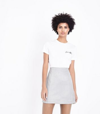 Pale Grey Suedette Mini Skirt