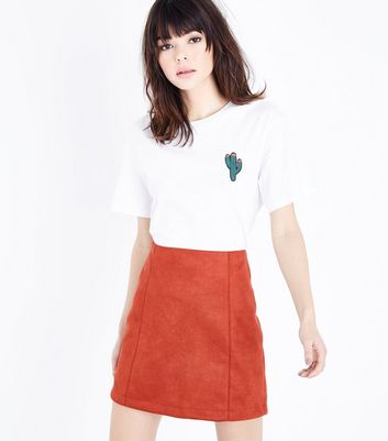 Red Suedette Mini Skirt