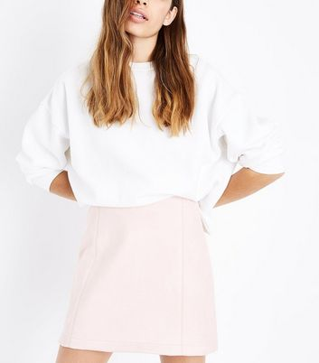 Shell Pink Suedette A-Line Mini Skirt