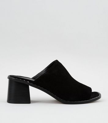 Black Leather Stud Peep Toe Heeled Mules