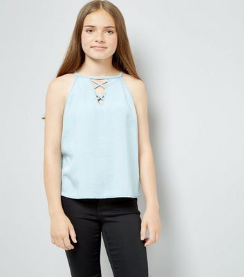 Teens Pale Blue Lattice Front High Neck Cami