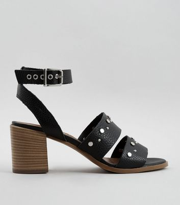 Black Leather Stud Block Heel Sandals