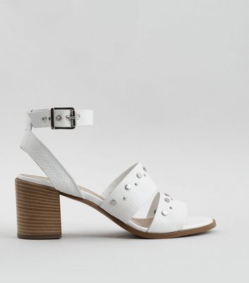 White Premium Leather Stud Block Heel Sandals
