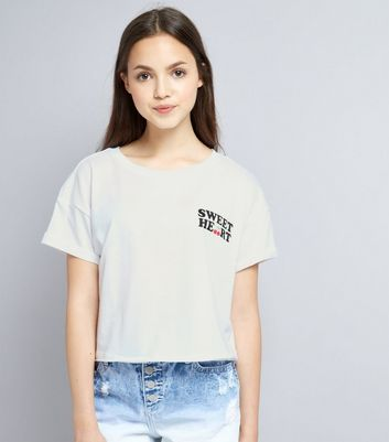 Teens White Sweetheart Logo T-Shirt