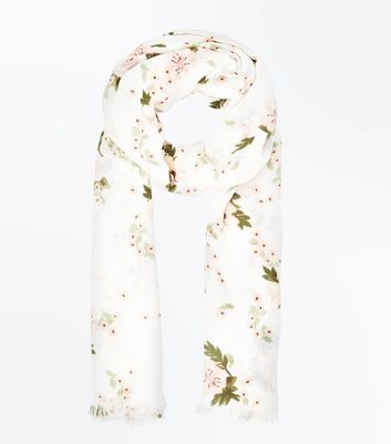 Cream Rose Print Scarf
