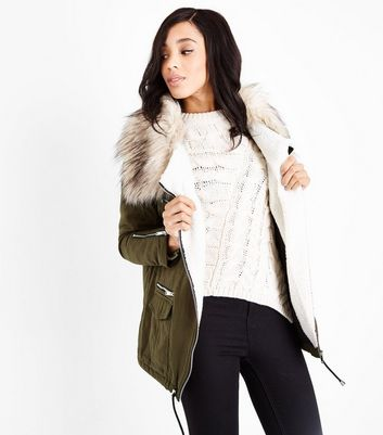 Khaki Faux Fur Collar Short Parka