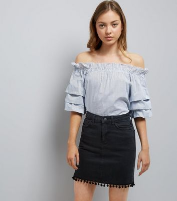 Black High Waist Pom Pom Hem Denim Skirt