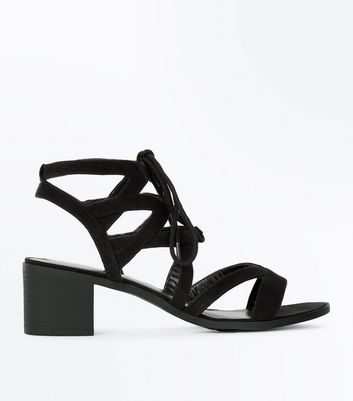 Black Suedette Lace Up Heeled Sandals