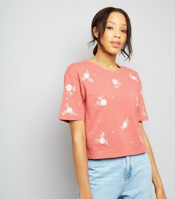 Pink Floral Embroidered T-Shirt