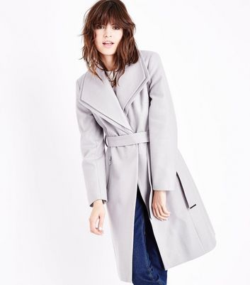 Grey Layered Collar Belted Coat