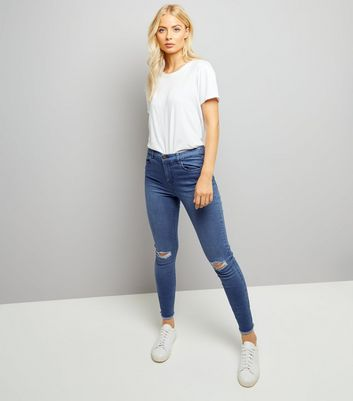 Bright Blue Ripped Knee Skinny Jenna Jeans