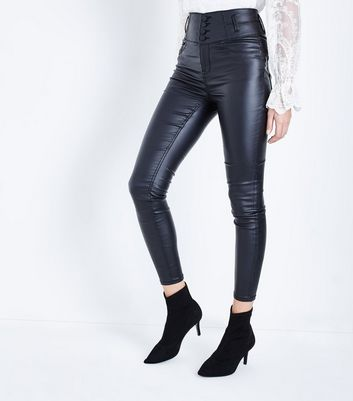 Black Coated High Waist Skinny Yazmin Jeans