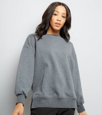 Dark Grey Slouchy Side Split Sweater