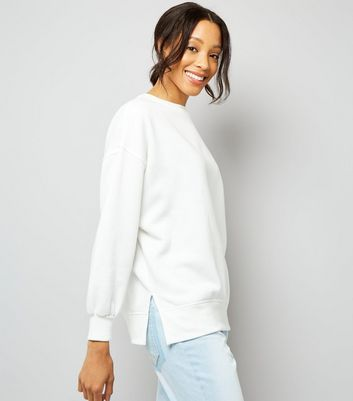 White Slouchy Split Side Sweater