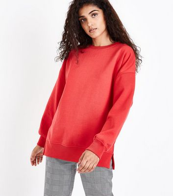 Red Slouchy Split Side Sweatshirt