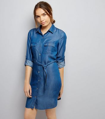 Blue Denim Belted Shirt Dress