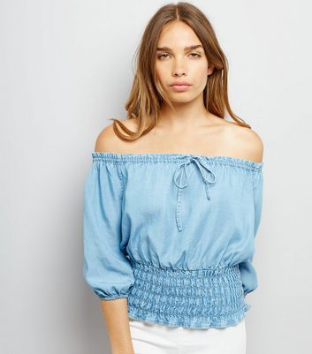 Blue Elasticated Bardot Neck Top