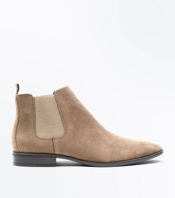 Stone Faux Suede Chelsea Boots