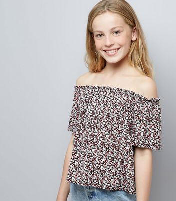 Teens Black Ditsy Floral Print Bardot Neck Top