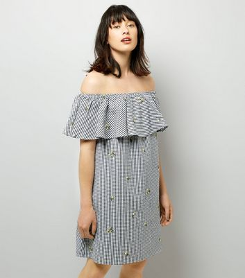 Black Floral Embroidered Gingham Bardot Neck Dress