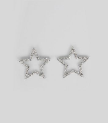Silver Star Diamante Stud Earrings