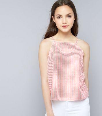 Teens Red Gingham Seersucker High Necki Cami